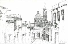 La Sazon I San Miguel de Allende Ink drawing by William E. Morrow