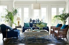 British Colonial Style - 7 steps to achieve this style. Find out how to create this classic look which is the basis of modern day Hamptons and Caribbean style and also has elements of contemporary style with the botanical and greenery trend. Urban Deco, West Indies Decor, West Indies Style, British West Indies, Living Room Decor, Living Spaces, Blue Living Room Furniture, Blue Couch Living Room, Blue Furniture