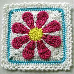Gerber Daisy Afghan square..... link to pattern if you join a free group