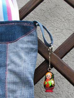 Matryoshka Masha bag  Jeans with handmade embroiderry by Vvesna,