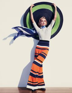 Rose Smith models Sportmax top and trousers with Harvy Santos straw hat for How to Spend It Magazine June 2016 issue
