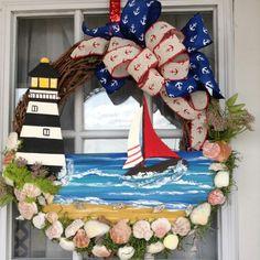 Colorful Coastal Door Swag Idea !