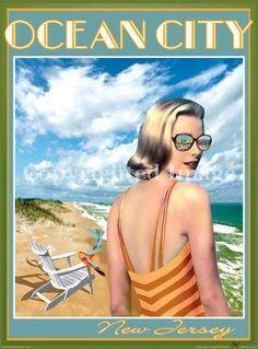 Ocean City, New Jersey NJ beach travel poster  (not vintage)