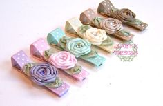 Items similar to Shabby Chic Rosette Clips / Baby Snap Clips / Girls PIPPA SIX Pack of Rolled Satin Flower Pink Yellow Lilac Beige Brown / Baby Hair Clip on Etsy – Artsupplies Ribbon Barrettes, Hair Barrettes, Ribbon Bows, Hair Bows, Baby Hair Clips, Baby Headbands, Brown Babies, Satin Flowers, Diy Hair Accessories