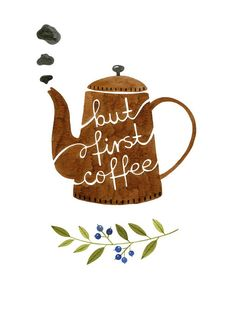But First Coffee Watercolor Art Print Coffee by morningswithcoffee