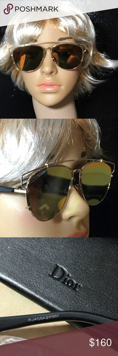 CHRISTIAN DIOR TECHNOLOGIC GOLD MIRROR SUNGLASSES Christian Dior Technologic gold and black mirror sunglasses.  style RHL83 SERIAL # RJ406A2KWH  SCRATCHES ON BOTH LENS Will not impair vision. comes with original box, paper work and cleaning cloth SIZE 57/14/145  Retail $585 Christian Dior Accessories Sunglasses