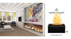 Custom Opti-Myst Cassette Fireplace using 6 units Dimplex Fireplace, Fireplace Inserts, Baseboards, Electric Fireplaces, The Unit, Collection, Sample Resume, Basement, Home Decor