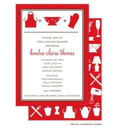Red Kitchen Shower: This stylish kitchen shower invitation features a bright red border and red silhouettes of an apron, strainer and oven mitt at the top of the card. Turn the card over to find one of the most fun details! The back is covered with silhouettes of kitchen items.