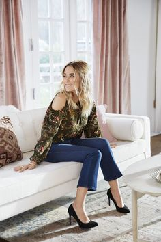 Lauren Conrad wearing an LC Lauren Conrad ensemble including a Print Cold Shoulder Top, Cropped Jeans and High Heels | Shop the look at Kohl's