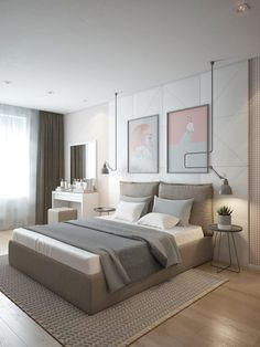 Nightstands, side tables, cabinets or chairs are some of the luxury bedroom furniture tips that you can find. Every detail matters when we are decorating our master bedroom, right? Home Room Design, Modern Bedroom Design, Contemporary Bedroom, Monochrome Bedroom, Contemporary Kitchens, Luxury Bedroom Furniture, Home Decor Bedroom, Master Bedroom, Bedroom Ideas