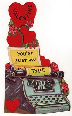 Cute Valentine - vintage typewriter, could make something similar with stamp I just got