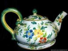 Antique Italian Cantagalli Majolica Serpentine Teapot & Underplate Late 19th C.