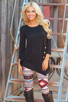 Push My Buttons Tunic - Black from Closet Candy Boutique Fall Winter Outfits, Autumn Winter Fashion, Winter Style, Boutique Tops, Candy Boutique, Fall Clothes, Work Clothes, Clothes For Women, Blouse Styles
