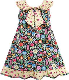Girls Dress Bow Tie Yellow Floral Turn-Down Collar And Trim Size 4-10 Years