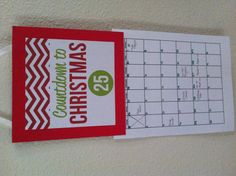 Countdown to Christmas Calendar with events marked.