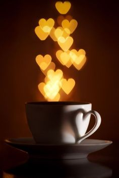 Glowing hearts & coffee.  Perfect.  Smartphone wallpaper for Valentines day #valentinesday #love #wallpaper