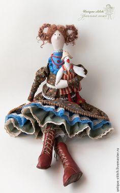 Коричневый, текстильная кукла, кожа натуральная