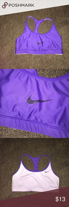 Nike Dri Fit Reversible Sports Bra Size Medium Excellent condition. Reversible style . Light purple and dark purple. No cracking on swoosh. Mesh detail. Fits true to size. Lowest offer is the price listed. No trades or Mercari. Price firm unless bundled. Nike Intimates & Sleepwear Bras