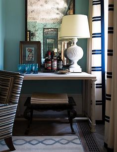 Steven Gambrel designed bar in West Village Townhouse. I love the mixture of patterns.