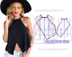 MOLDE DE BLUSA DE TRESPASSE -99 - Moldes Moda por Medida