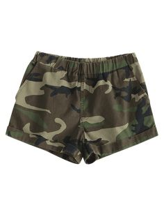 Camouflage Green Autumn and Spring and Summer Nonelastic Pockets Camo Flat Elastic Mid Regular Casual Cuffed Camo Shorts Wwe Outfits, Camo Outfits, Teen Fashion Outfits, Daisy Shorts, Camo Shorts, Denim Shorts, Camouflage Jeans, Hot Clothes, Camo Designs
