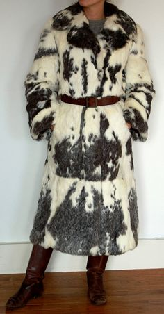 Rabbit Fur Coat  White with grey/Black pattern by tiffanypentz, $275.00