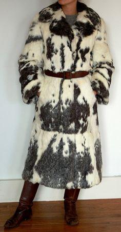 Rabbit Fur Coat  White with grey/Black pattern by tiffanypentz, $275.00