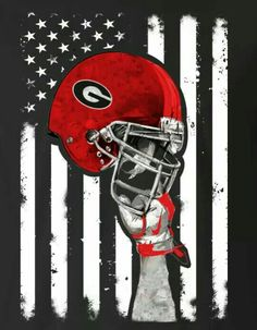 Love UGA & the USA. Great looking art combining the University of Georgia and the United States of America. Go Dawgs! Go USA! Florida State Football, Georgia Bulldogs Football, College Football Teams, Football Helmets, Football Tattoo, Sick, Go Usa, Georgia Girls, University Of Georgia