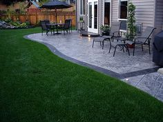 stamped concrete patio - love the shape and landscaping | back ... - Patio Stamped Concrete Ideas