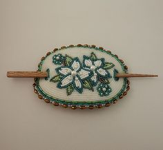 Beaded Barrette with floral pattern on Moosehide by Rosie Cassou (Athabascan)