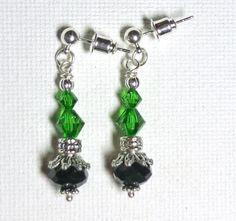 RESERVED FOR CAROL Earrings Black Czech Glass by SpiritCatDesigns, $5.00