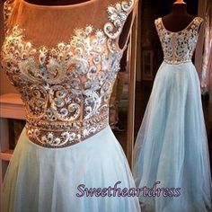 2016 cute blue chiffon long prom dress with beautiful top details, evening dress for teens, modest prom dress #coniefox #2016prom