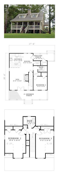 Bungalow House Plan 62131   Total Living Area: 1451 sq. ft., 3 bedrooms and 2 bathrooms. #bungalowhome