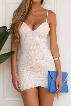 Spaghetti Strap Lace Solid Color Sleeveless Dress