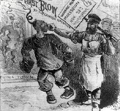 Once the western railroads of the US have been completed, many Chinese immigrants are out of a job & begin competing with blue-collar men of European ethnicity.  The Chinese tend to be more hard working & willing to work for less, so they are often chosen by business owners & vintners.  This leads to a backlash in which Chinese immigrants are lynched from Wyoming to Los Angeles.  The press backs up lynchers with abusive racism, & eventually Congress will pass a law denying the Chinese rights. Chinese American, American History, Model Minority, Yellow Peril, Race In America, Interesting History, Political Cartoons, Historical Society, Business Women