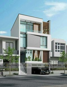 A Contemporary and modern house exterior design idea Villa Design, Facade Design, Exterior Design, House Front Design, Modern House Design, 3 Storey House Design, Facade Architecture, Residential Architecture, Narrow House Designs