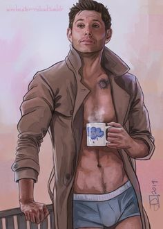 Art, Writing, and Destiel Destiel Supernatural, Supernatural Drawings, Supernatural Wallpaper, Dean And Castiel, Meninos Teen Wolf, Destiel Fanart, Jensen Ackles, Superwholock, Sexy Men