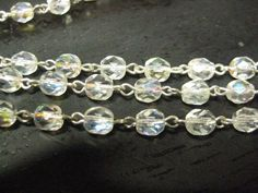 Czech Crystal AB Chain 1 Foot 6mm Silver by zoeJaneJewelrySupply; $3.75/foot