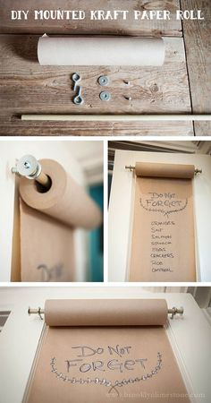 DIY Mounted Kraft Paper Roll that's great for an organized craft room. Home Projects, Craft Projects, Craft Ideas, Decor Ideas, Room Ideas, Memo Boards, Bulletin Boards, Ideias Diy, Diy Paper