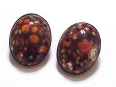 Vintage MATISSE RENOIR Enamel Copper Clip Earrings by TheCopperCat