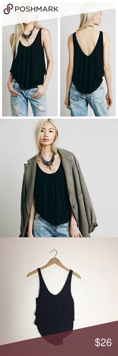NWOT Intimately Free People Double Up Cami Easy breezy, super swingy double layered gauzy cami with a scooped neck from Free People. Brand new, without tag.  100% Rayon Machine Wash Cold Free People Tops Tank Tops