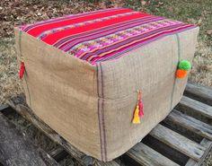 Boho Burlap Ottoman Slipcover by HomeBoho on Etsy