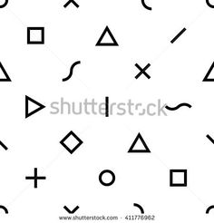 Abstract  geometric seamless vector pattern. Triangles, squares, crosses, lines, s-shapes and circles on solid background. Black and white colors. Trendy necktie texture.