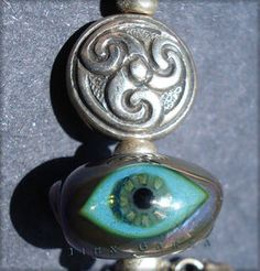 Jinx Garza Lampwork Glass Evil Eye Bead Pendant with Celtic Knot and Bells 20605