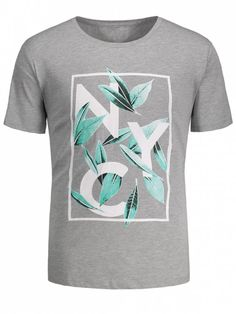 Leaf Printed Graphic Tee - GRAY L