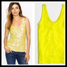 j. crew // sequin tank • neon yellow This fun and cheery tank features a flattering deep V on both the neckline and back. Pair it with shorts, a cute mini or under a blazer for a little pop of color. Sequins continue to the back. From Factory. Excellent condition. ⭐️ Reduced from $32. J. Crew Tops Tank Tops