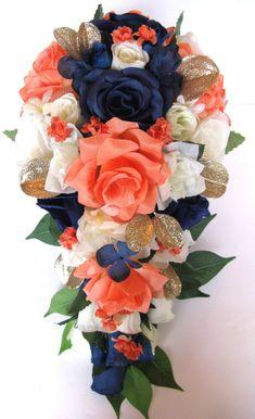 Wedding Bouquet package Bridal Bouquet 17 piece Silk Flower CORAL NAVY BLUE GOLD #Rosesanddreamscom #Wedding #weddingFlowersBouquetsBoutonnieresCorsages
