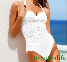 white color sexy one piece swimsuit of Push-up Padded Bra Bathing Suit Swimwear for women and girls