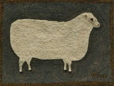 Primitive Ewe Hooked Rug Kit by harwoodhookedonewe on Etsy