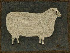 Primitive Ewe Hooked Rug Kit by harwoodhookedonewe on Etsy, $135.00